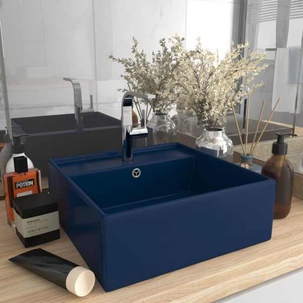 vidaXL Chiuvetă lux preaplin albastru mat 41x41cm ceramică pătrat