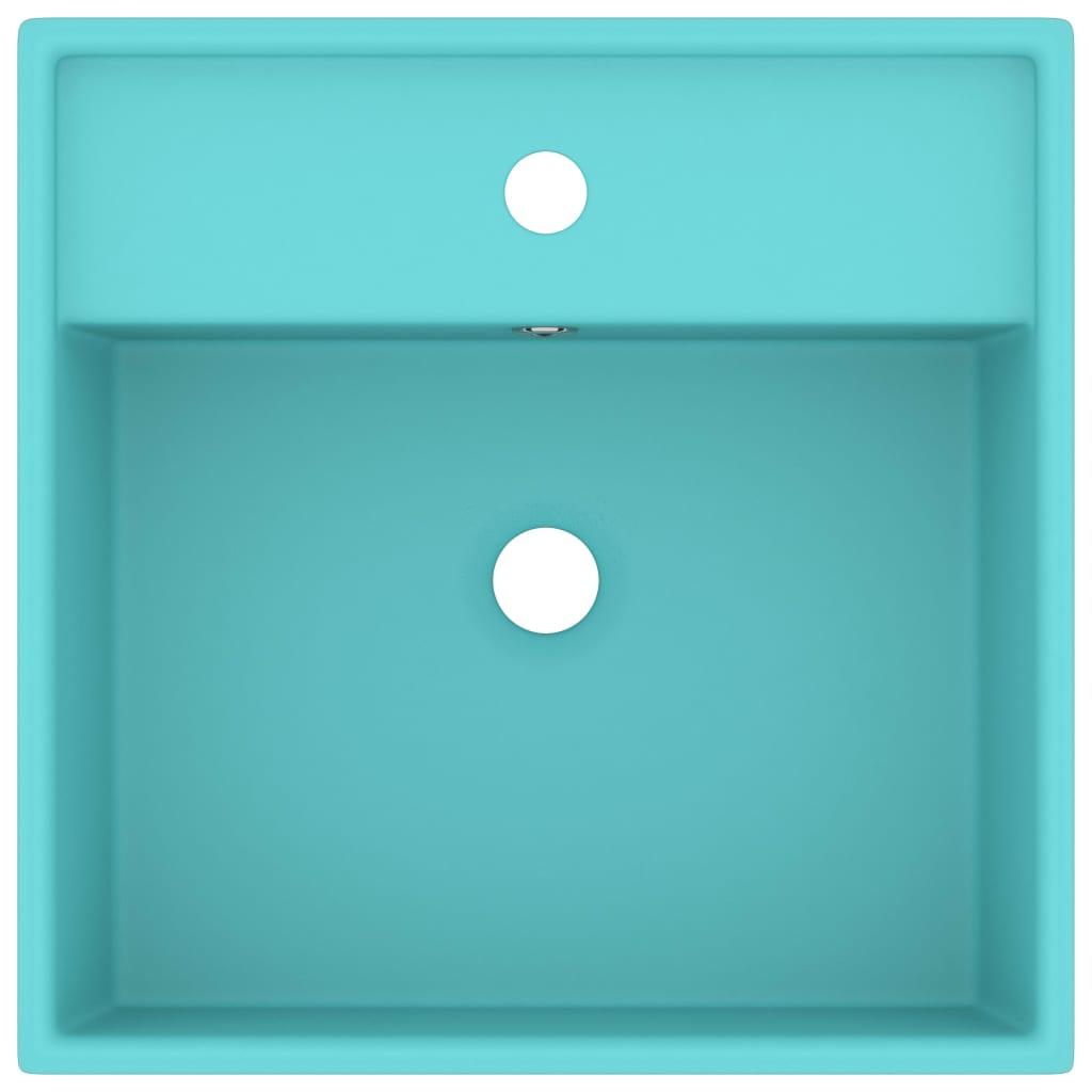 Chiuvetă lux preaplin verde mat 41×41 cm ceramică pătrat