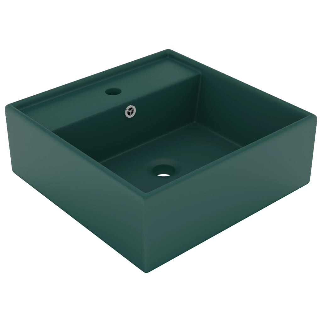 Chiuvetă lux preaplin verde închis mat 41×41 cm ceramică pătrat