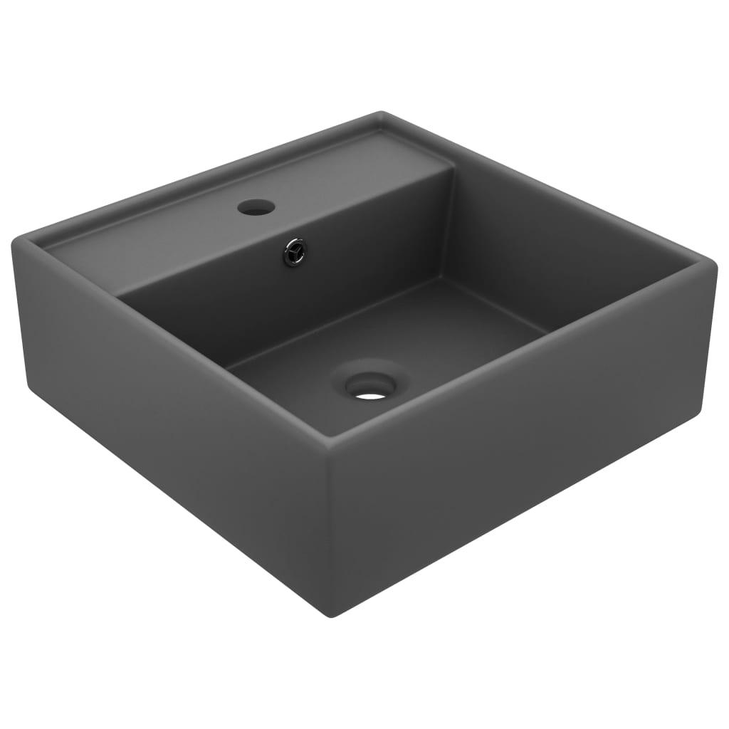 Chiuvetă lux cu preaplin gri închis mat 41x41cm ceramică pătrat