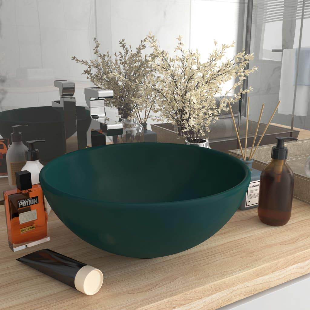 vidaXL Chiuvetă baie lux verde închis mat 32,5×14 cm ceramică rotund