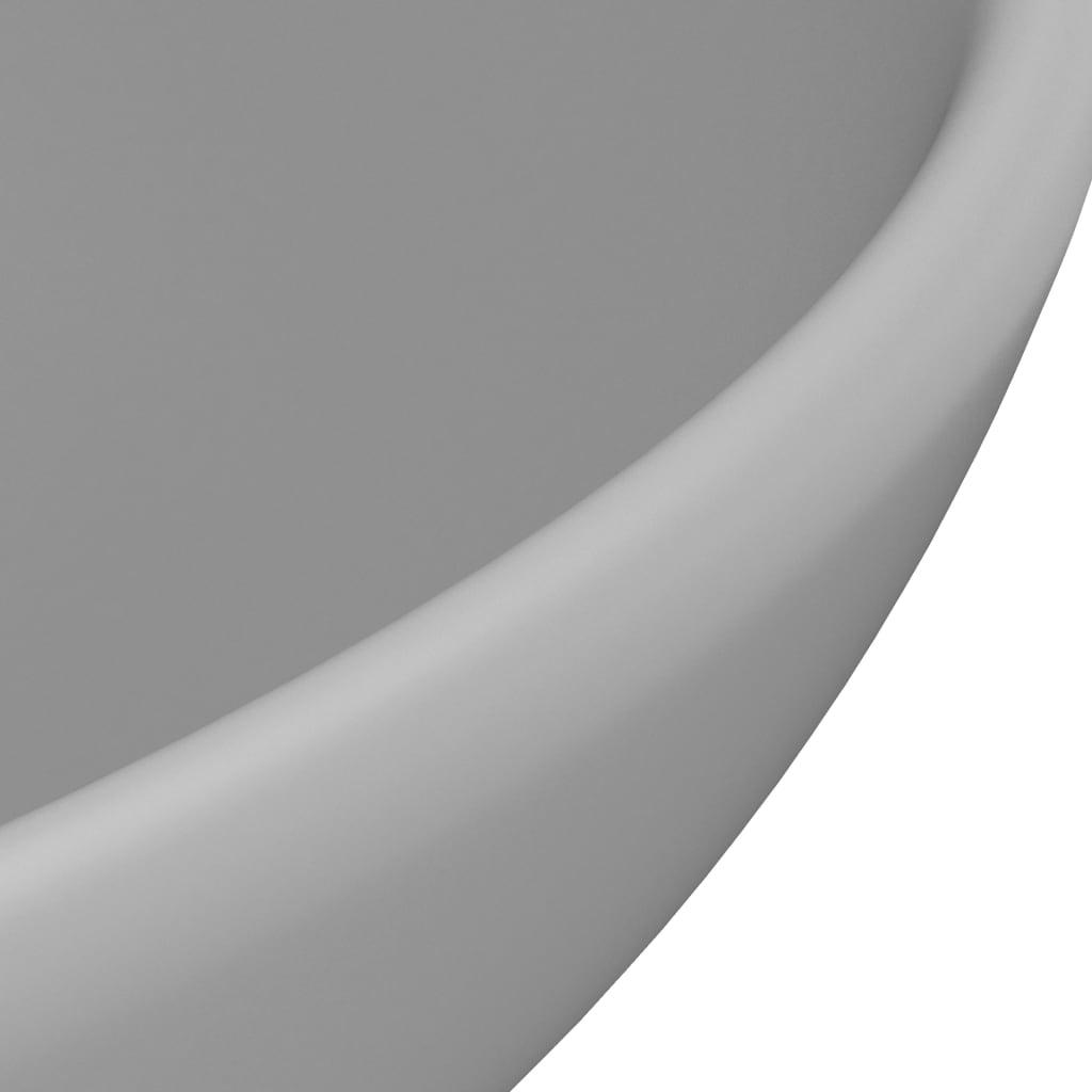Chiuvetă baie lux, gri deschis mat, 32,5x14cm, ceramică, rotund
