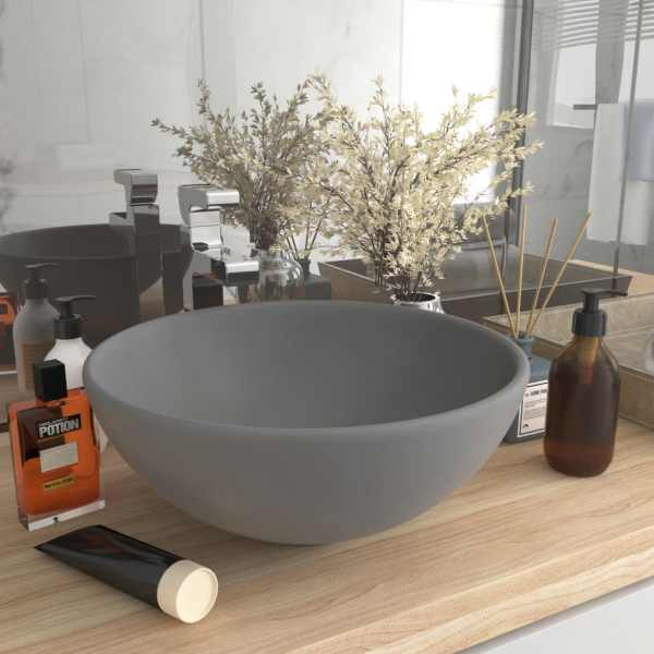 vidaXL Chiuvetă baie lux, gri deschis mat, 32,5x14cm, ceramică, rotund