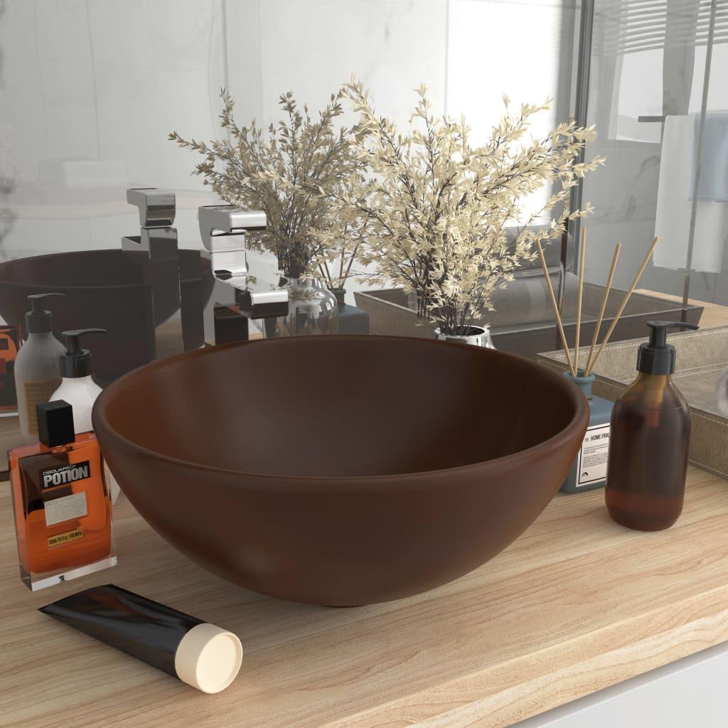 vidaXL Chiuvetă baie lux maro închis mat 32,5×14 cm ceramică rotund