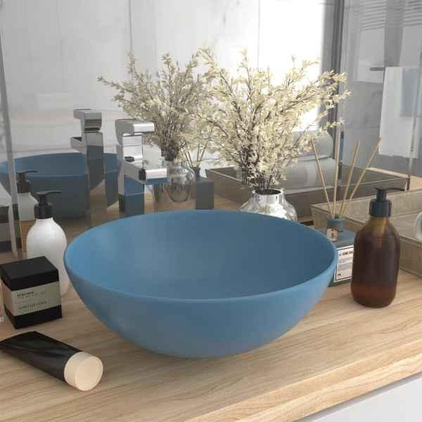 vidaXL Chiuvetă pentru baie, albastru deschis, ceramică, rotund