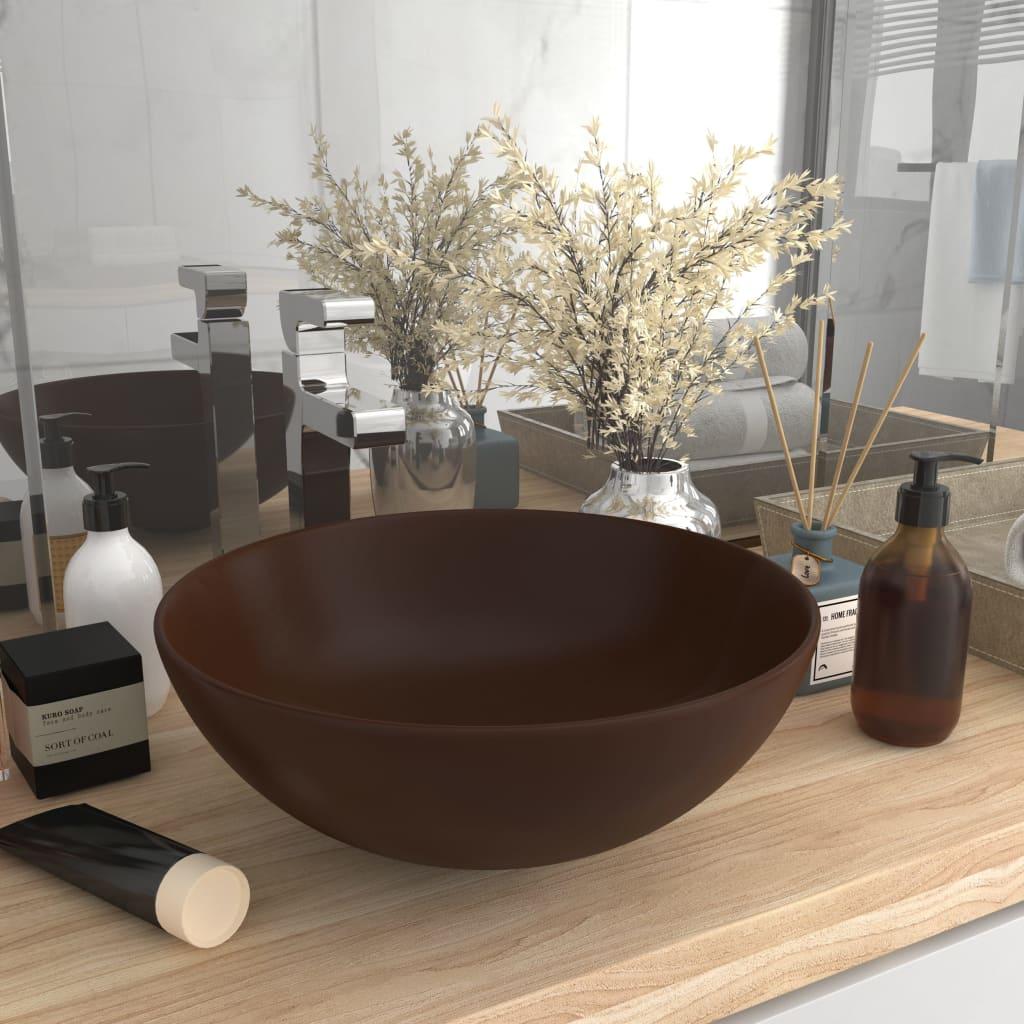 vidaXL Chiuvetă de baie, maro închis, ceramică, rotund
