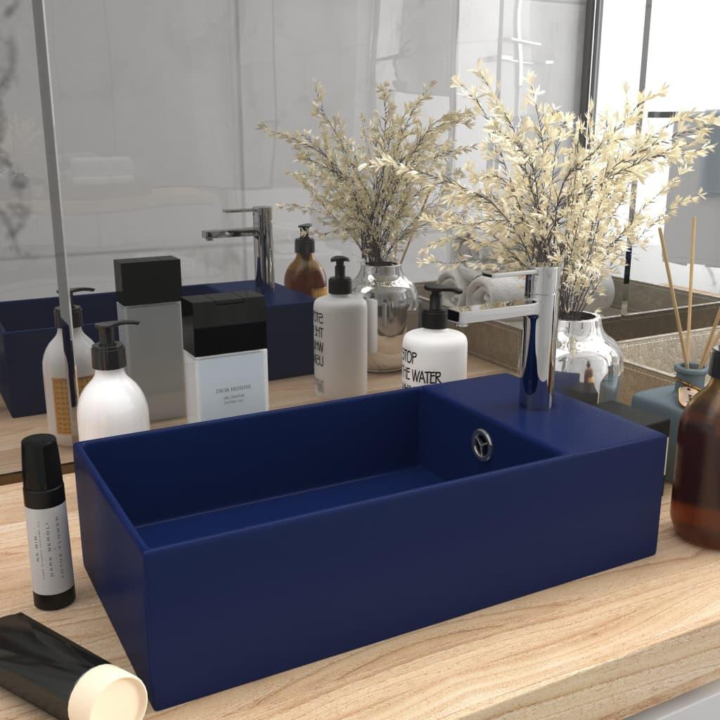 vidaXL Chiuvetă de baie cu preaplin, albastru închis, ceramică