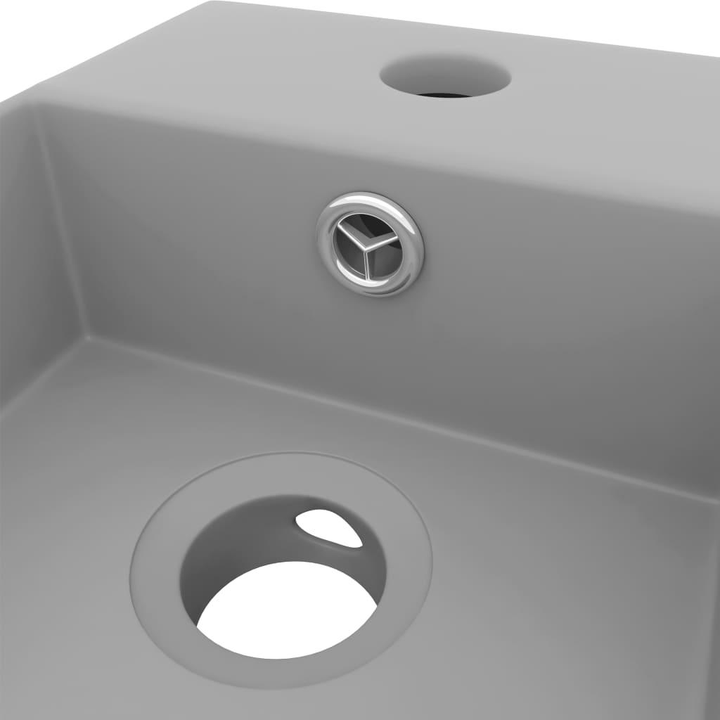 Chiuvetă de baie cu preaplin, gri deschis, ceramică