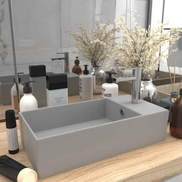 vidaXL Chiuvetă de baie cu preaplin, gri deschis, ceramică