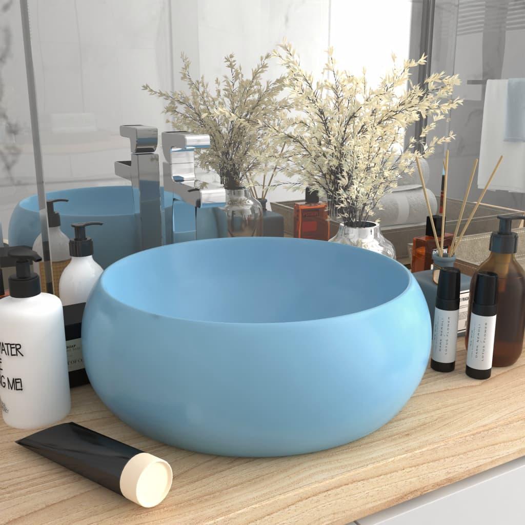 vidaXL Chiuvetă baie lux albastru deschis mat 40×15 cm ceramică rotund