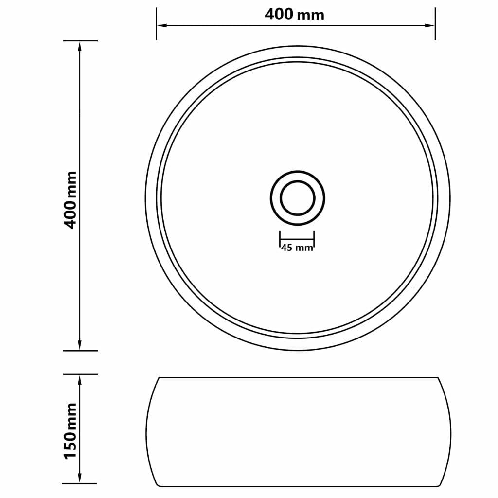 Chiuvetă baie lux, gri închis mat, 40×15 cm, ceramică, rotund