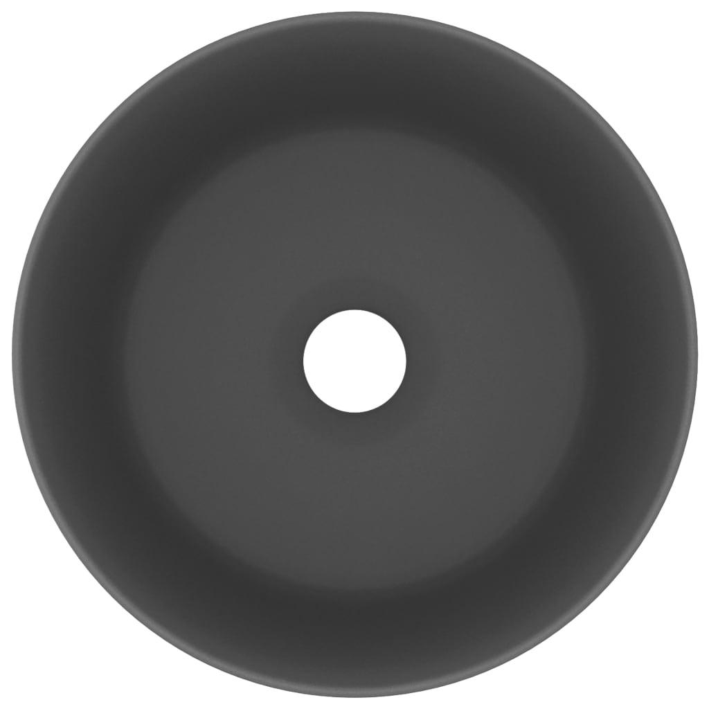 vidaXL Chiuvetă baie lux, gri închis mat, 40×15 cm, ceramică, rotund
