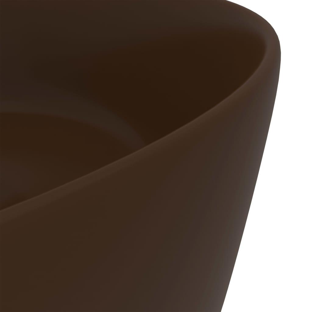 Chiuvetă de baie lux maro închis mat 40×15 cm ceramică rotund