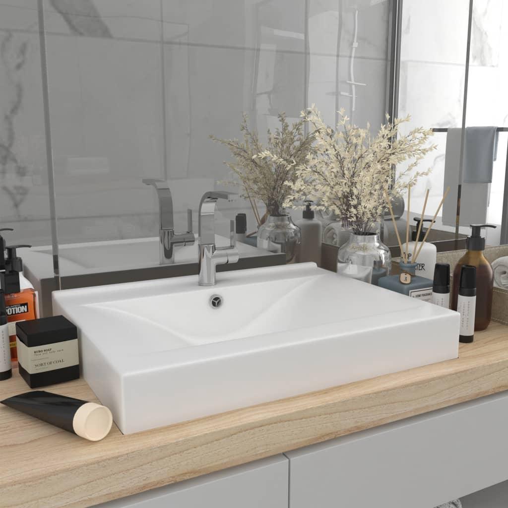 vidaXL Chiuvetă baie lux, orificiu robinet, alb mat 60×46 cm ceramică