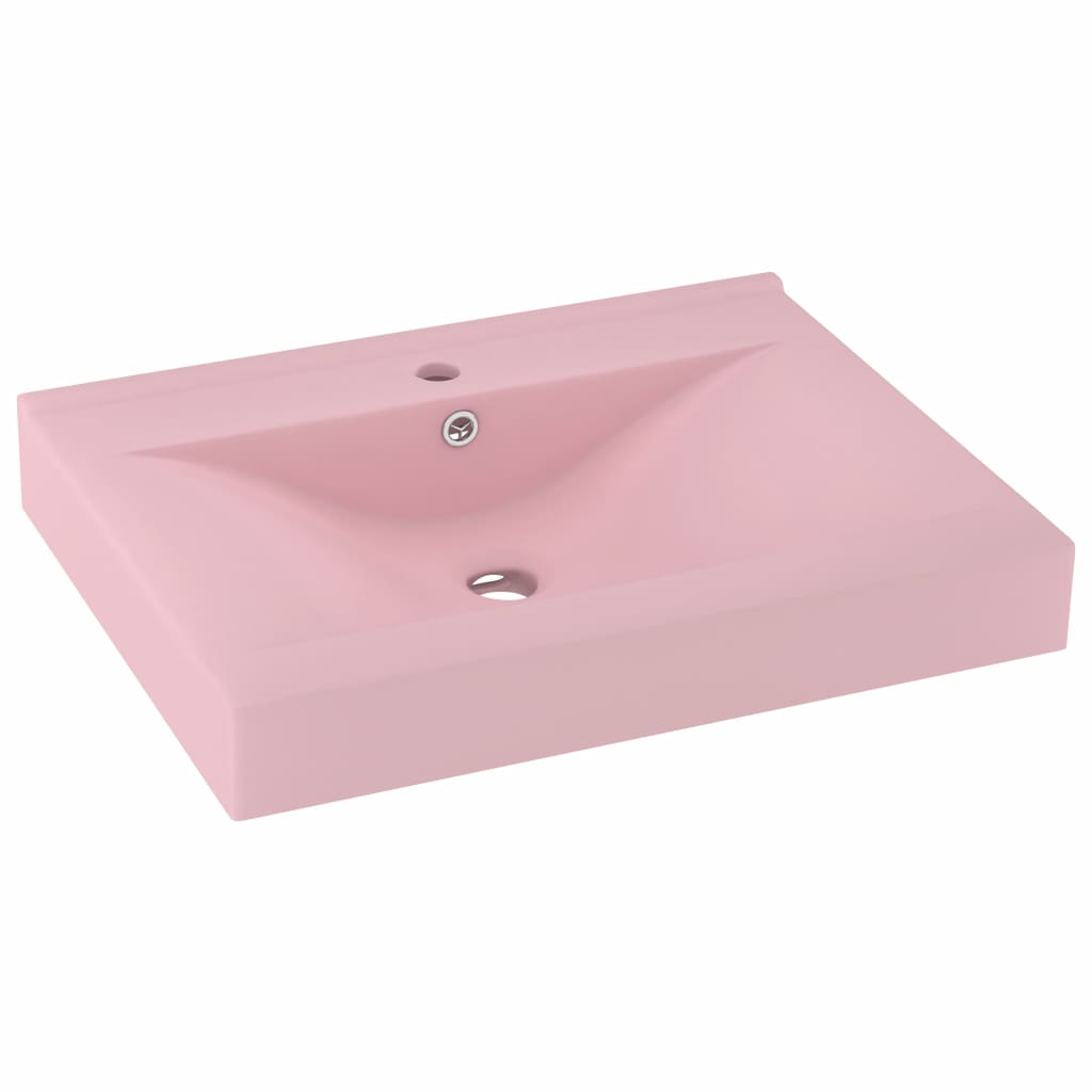 vidaXL Chiuvetă baie lux, orificiu robinet, roz mat 60×46 cm ceramică