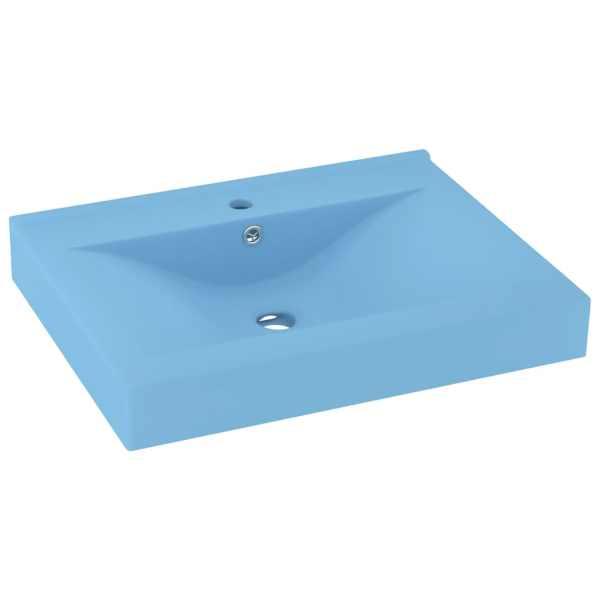 Chiuvetă baie lux, orificiu robinet, 60×46 cm bleu mat ceramică
