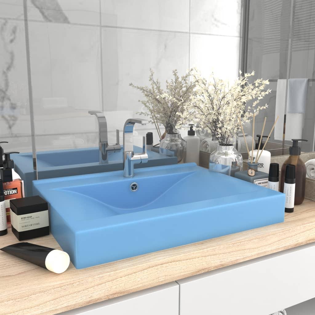 vidaXL Chiuvetă baie lux, orificiu robinet, 60×46 cm bleu mat ceramică
