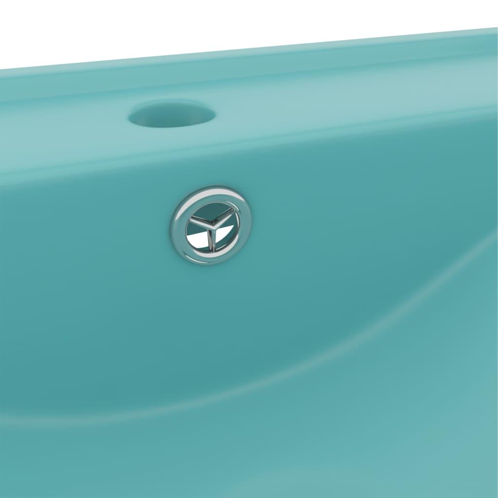 vidaXL Chiuvetă baie lux, orificiu robinet 60×46 cm verde mat ceramică