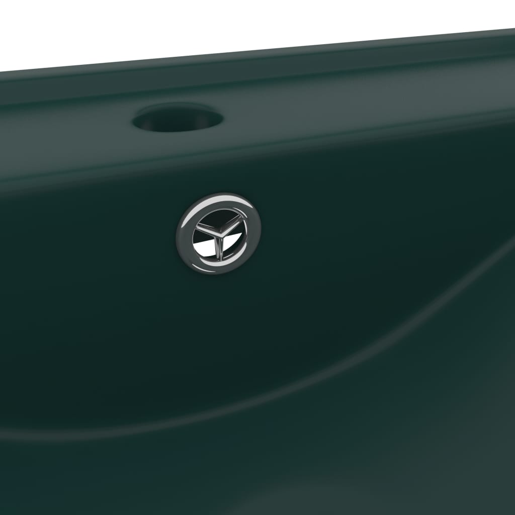 Chiuvetă baie lux, orificiu robinet verde mat 60×46 cm ceramică