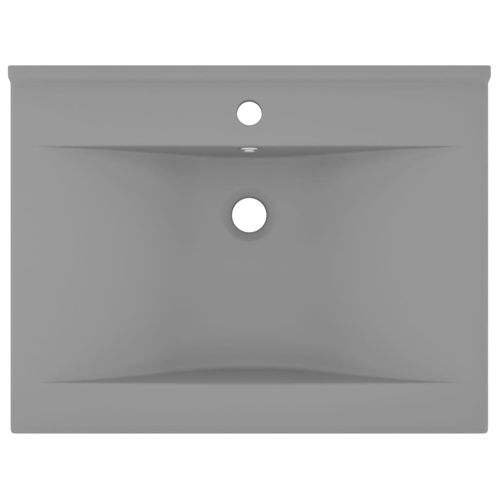 Chiuvetă baie lux, orificiu robinet, gri mat 60×46 cm ceramică
