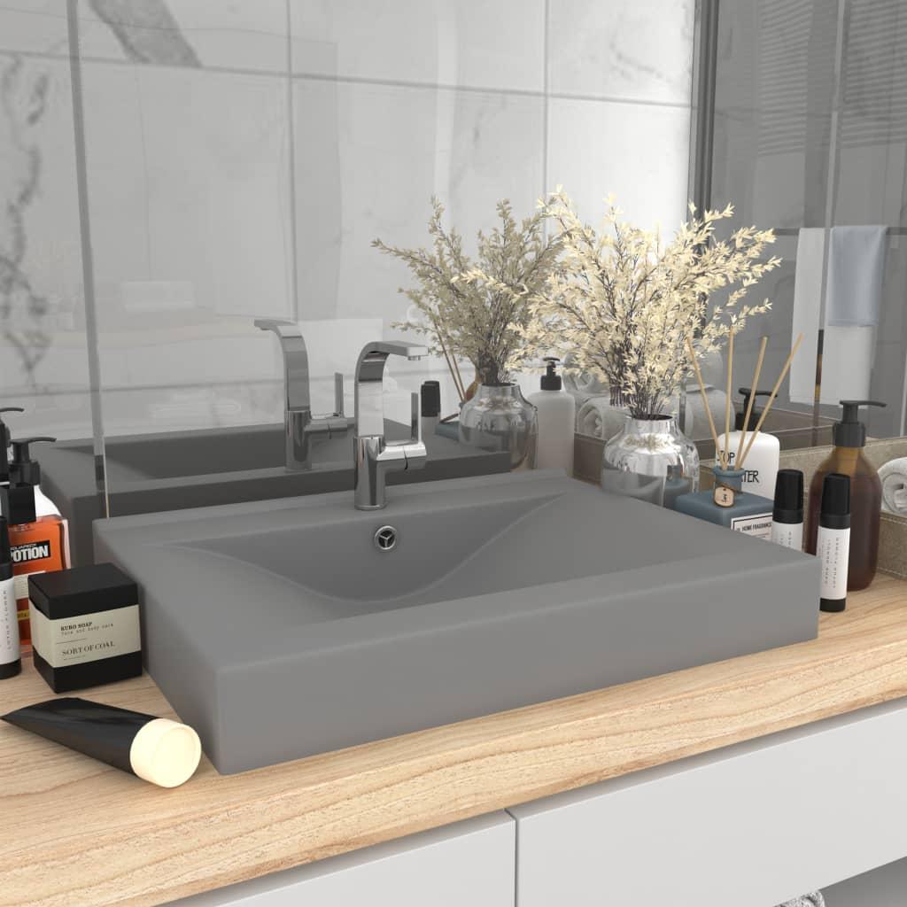 vidaXL Chiuvetă baie lux, orificiu robinet, gri mat 60×46 cm ceramică