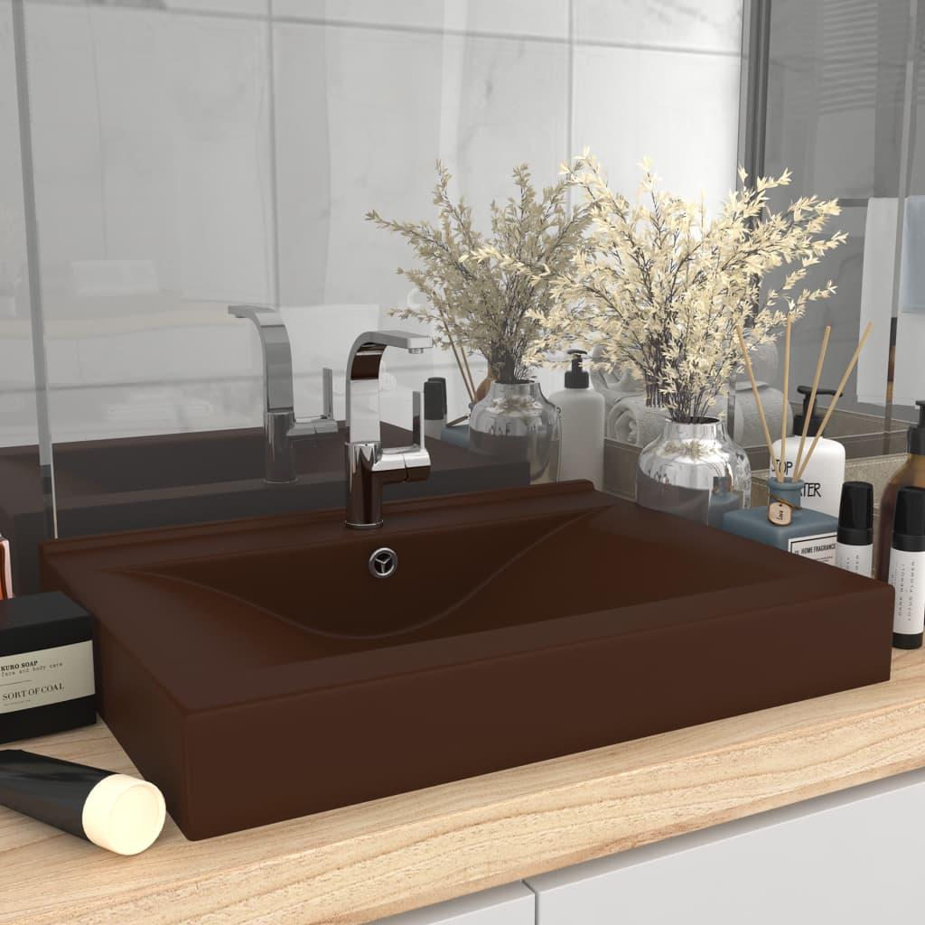 vidaXL Chiuvetă baie lux, orificiu robinet, maro mat 60×46 cm ceramică