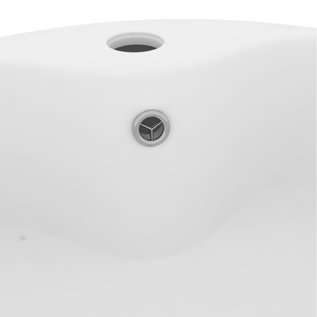Chiuvetă de lux cu preaplin, alb mat, 36 x 13 cm, ceramică