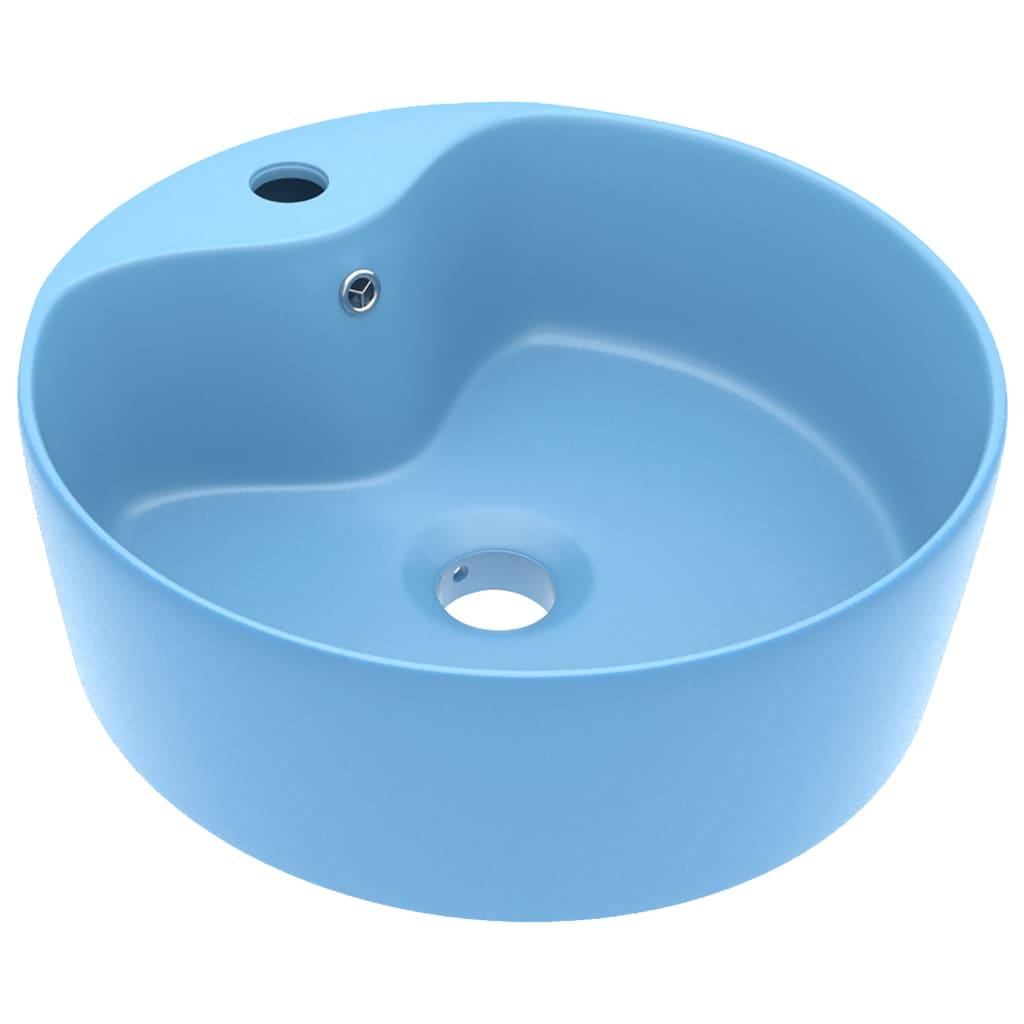 Chiuvetă de lux cu preaplin, bleu mat, 36×13 cm, ceramică