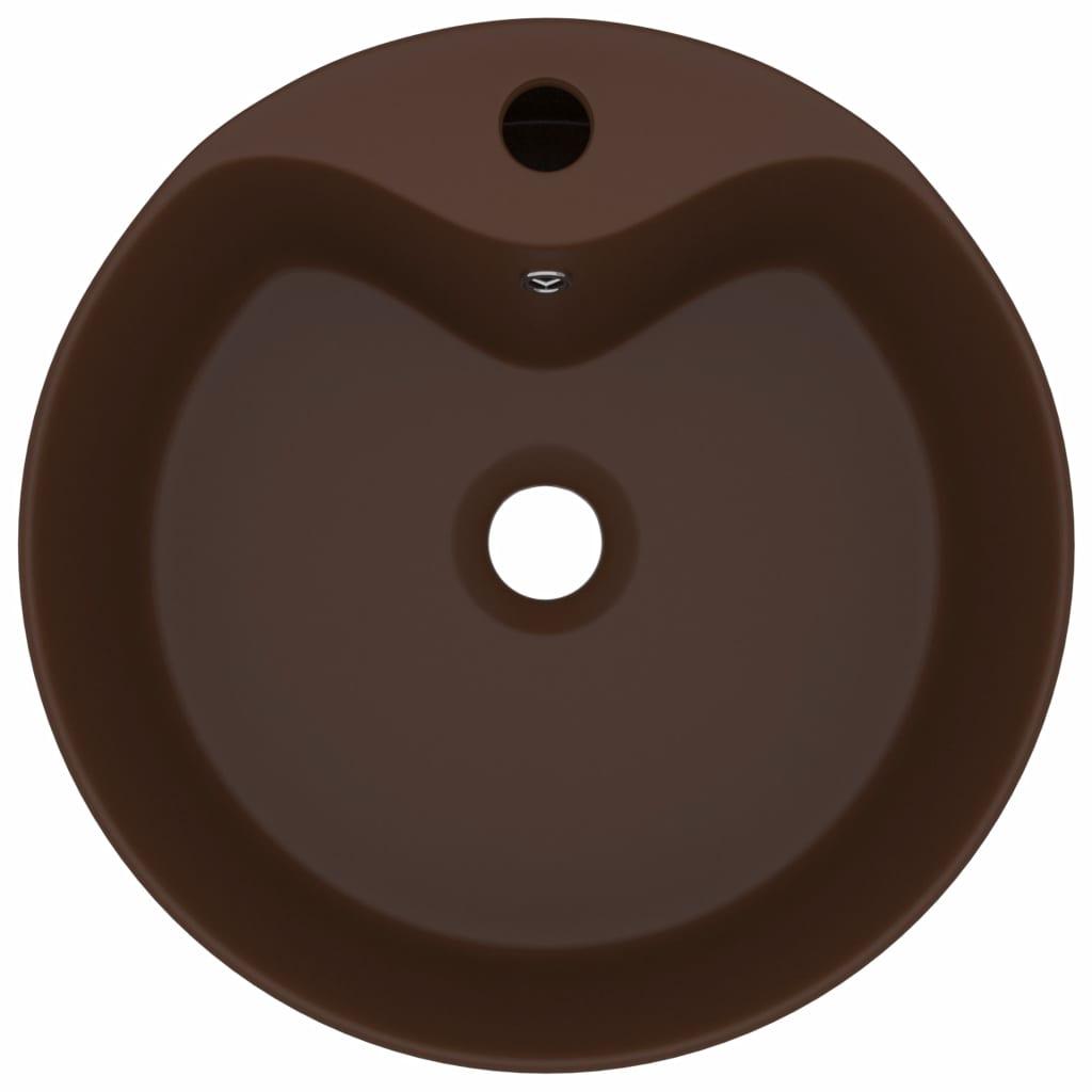 Chiuvetă de lux cu preaplin, maro închis mat, 36x13cm, ceramică