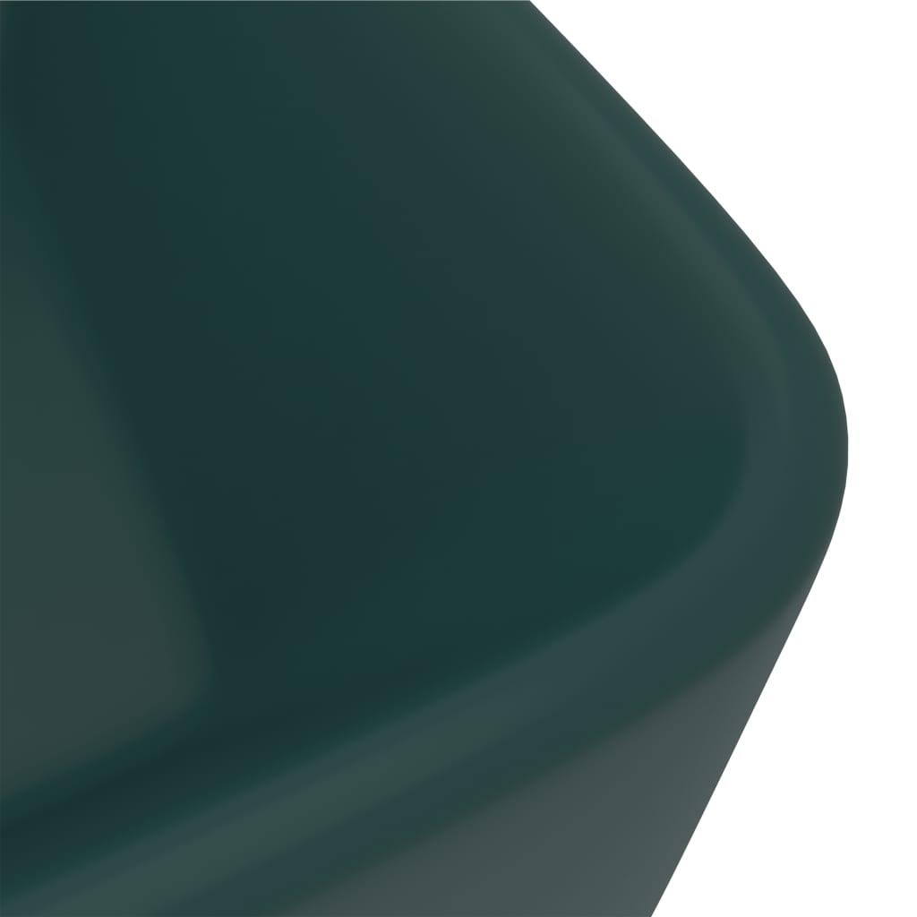Chiuvetă de baie lux, verde închis mat, 41x30x12 cm, ceramică