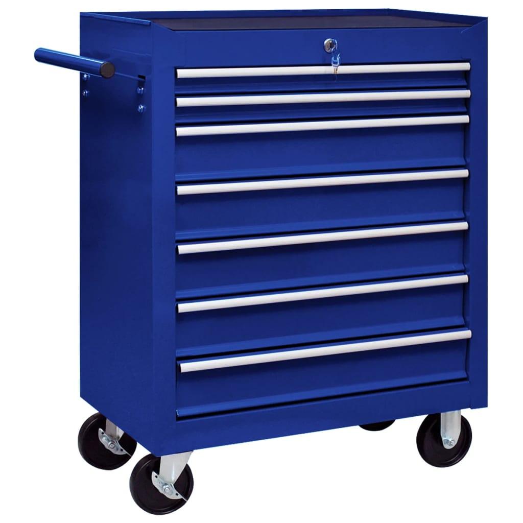 vidaXL Cărucior de scule pentru atelier cu 7 sertare, albastru