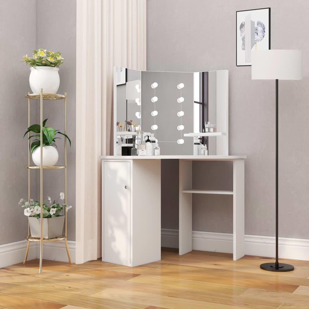 vidaXL Masă pentru machiaj de colț cu lumini LED, alb