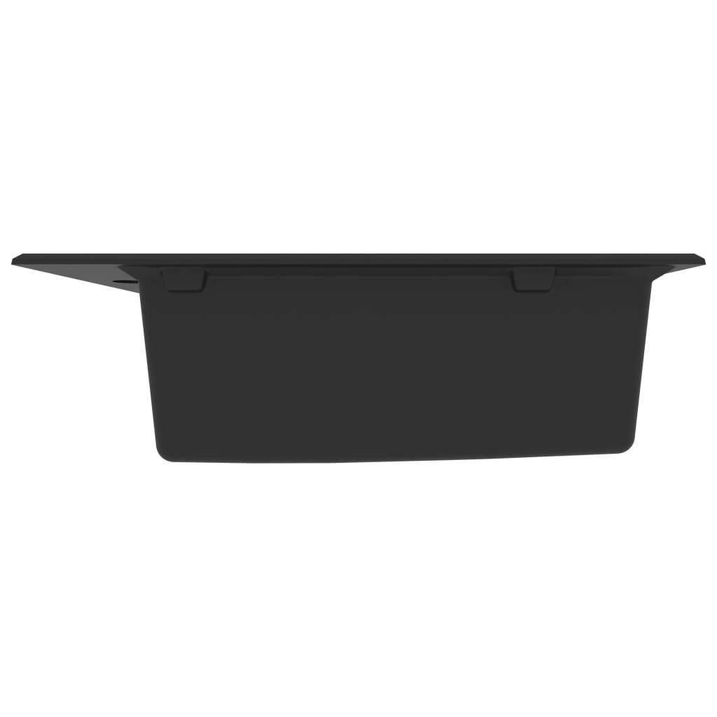 Chiuvetă de bucătărie cu orificiu de preaplin, negru, granit