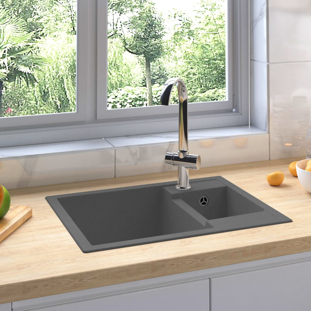 vidaXL Chiuvetă de bucătărie dublă cu orificiu de preaplin, gri granit