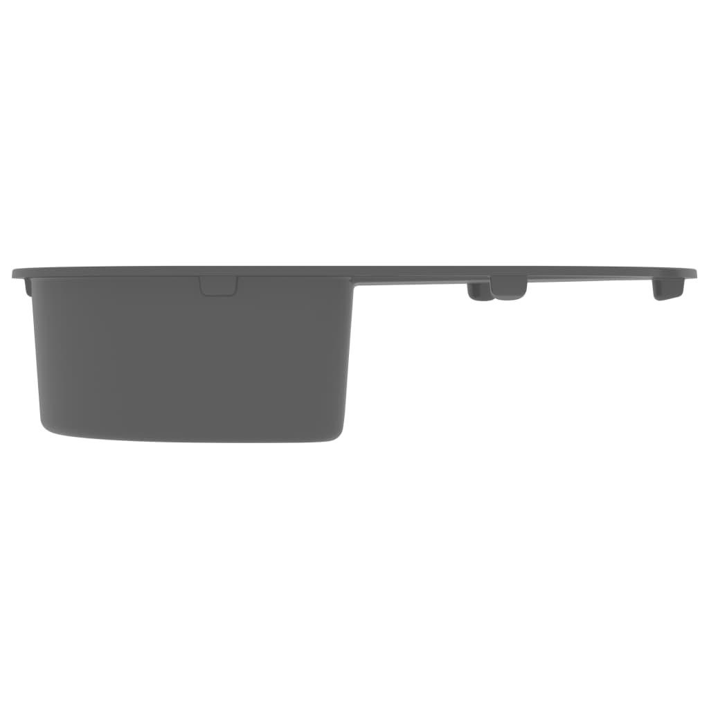 Chiuvetă de bucătărie cu orificiu de preaplin, gri, oval, granit