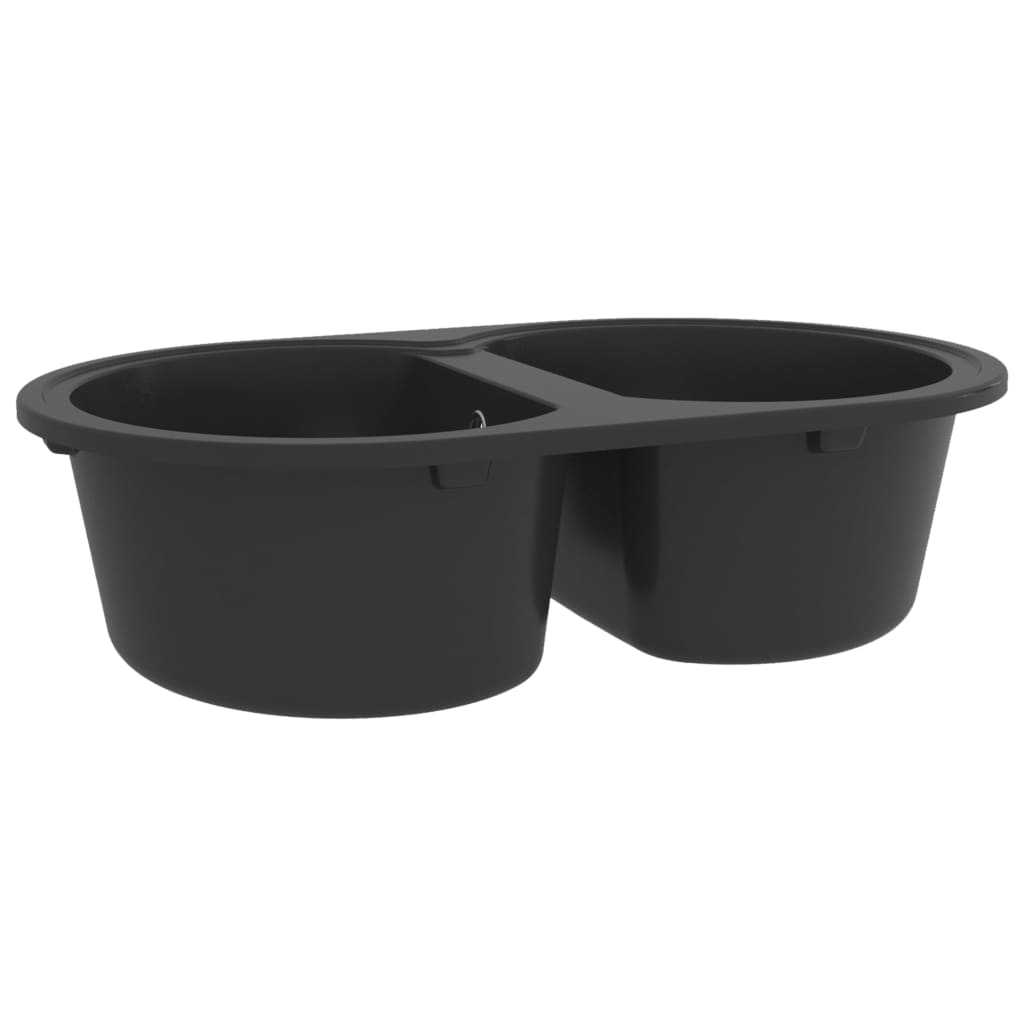 Chiuvetă de bucătărie cu două cuve, negru, granit, oval