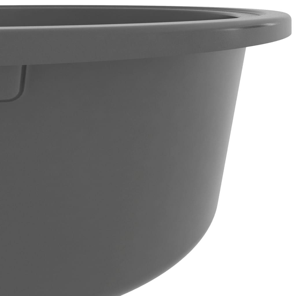Chiuvetă de bucătărie cu două cuve, gri, granit, oval