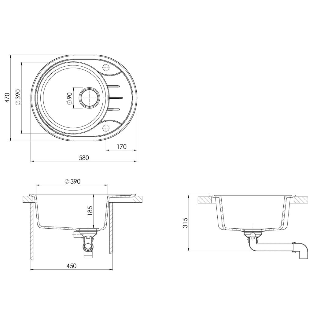 Chiuvetă de bucătărie cu orificiu de preaplin, gri, granit oval