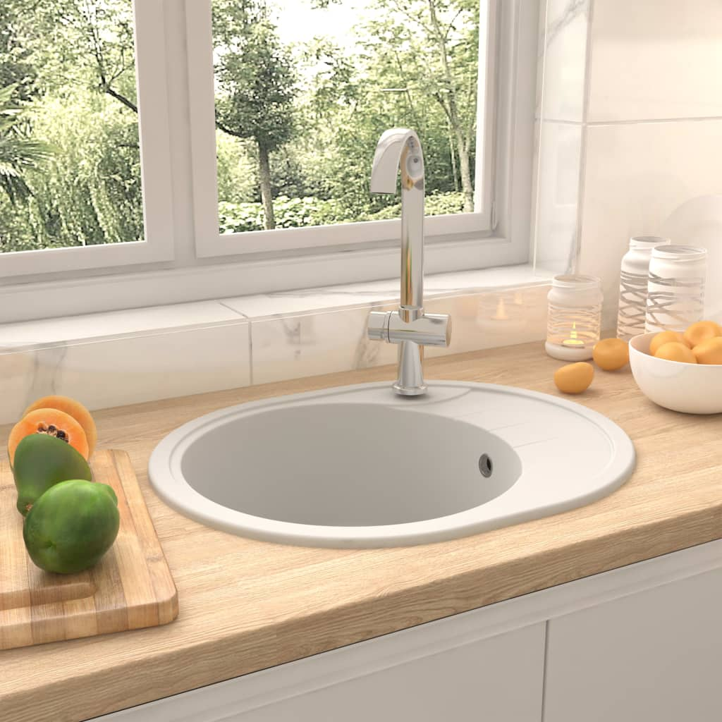 vidaXL Chiuvetă de bucătărie cu orificiu de preaplin, alb, granit oval