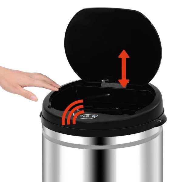 vidaXL Coș de gunoi automat cu senzor, 30 L, oțel inoxidabil