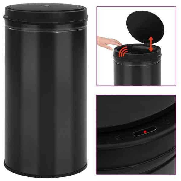 vidaXL Coș de gunoi automat cu senzor, 60 L, negru, oțel carbon