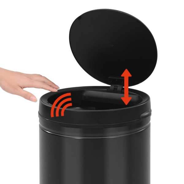 Coș de gunoi automat cu senzor, 60 L, negru, oțel carbon