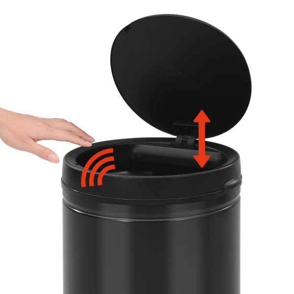 vidaXL Coș de gunoi automat cu senzor, 70 L, negru, oțel carbon