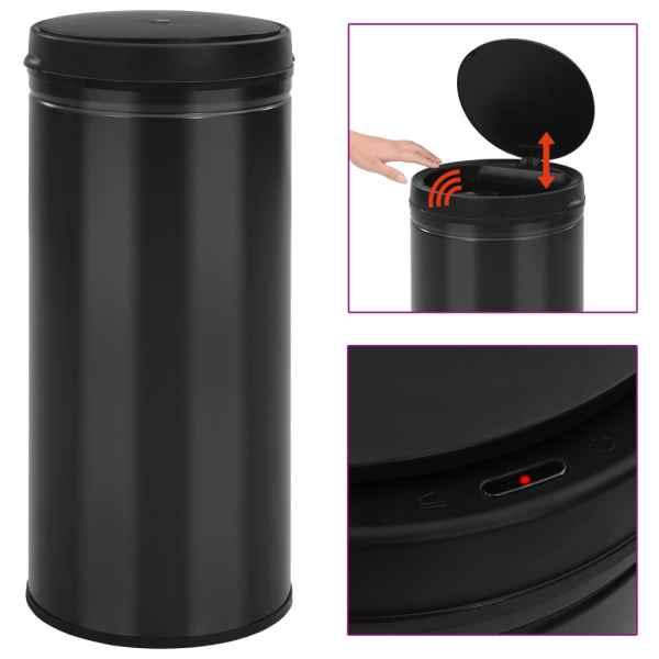 vidaXL Coș de gunoi automat cu senzor, 80 L, negru, oțel carbon