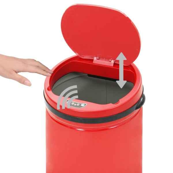 vidaXL Coș de gunoi automat cu senzor, 40 L, roșu, oțel carbon