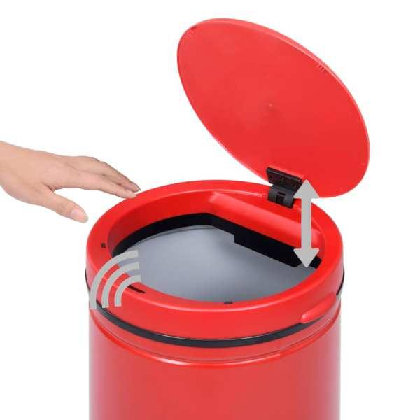 vidaXL Coș de gunoi automat cu senzor, 70 L, roșu, oțel carbon