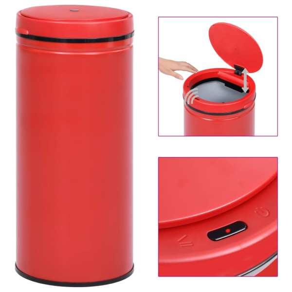 vidaXL Coș de gunoi automat cu senzor, 80 L, roșu, oțel carbon