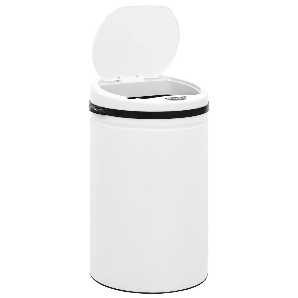 vidaXL Coș de gunoi automat cu senzor, 30 L, alb, oțel carbon