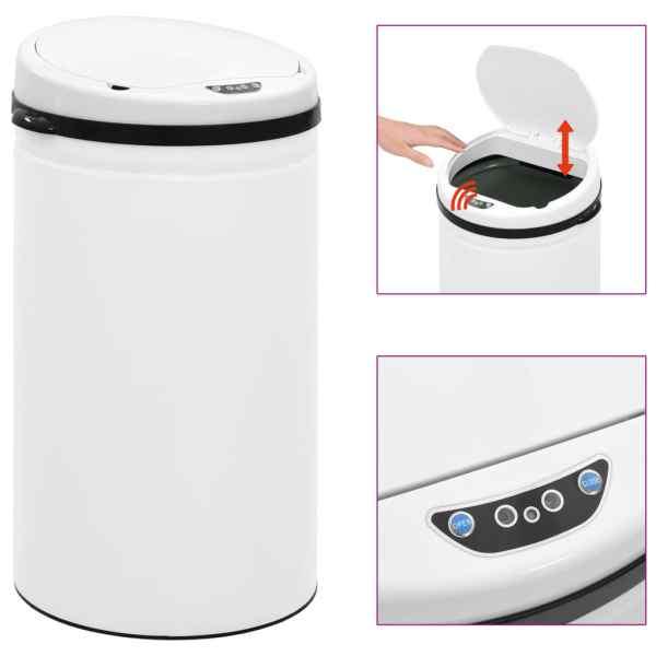 vidaXL Coș de gunoi automat cu senzor, 50 L, alb, oțel carbon