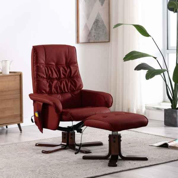 vidaXL Fotoliu de masaj rabatabil cu taburet roșu vin piele ecologică